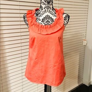 💋 J.Crew ruffle sleeveless top coral 💯 cotton 2